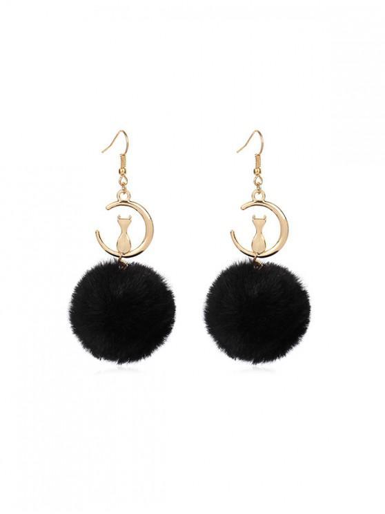 outfit Fuzzy Ball Cat Pattern Drop Hook Earrings - BLACK