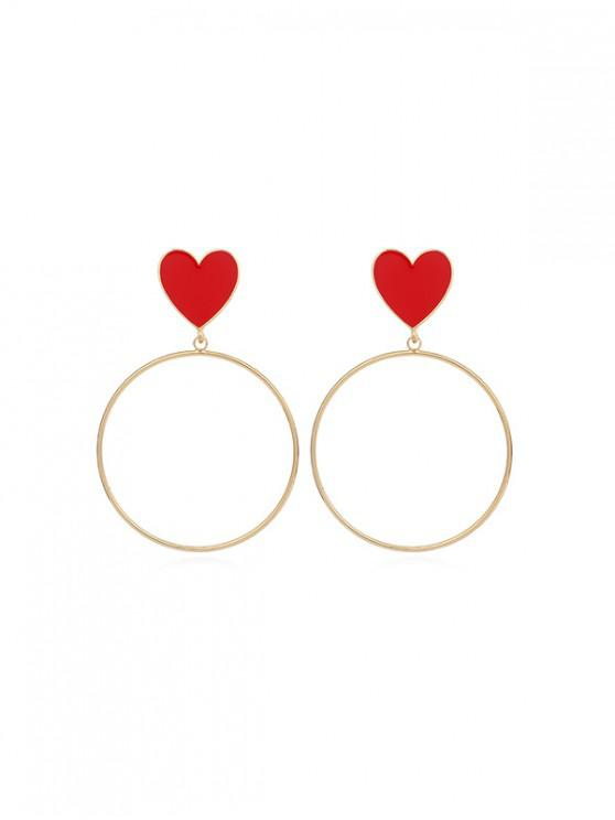 chic Heart Circle Drop Earrings - RED