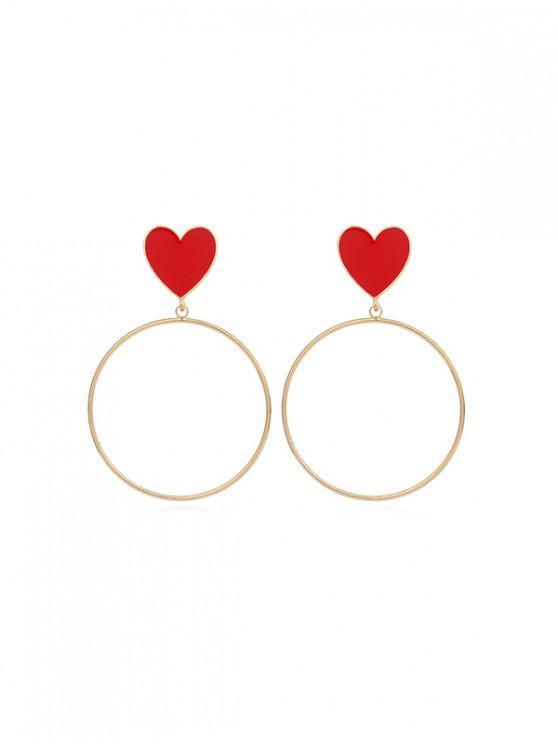 Aretes colgantes con forma de corazón - Rojo