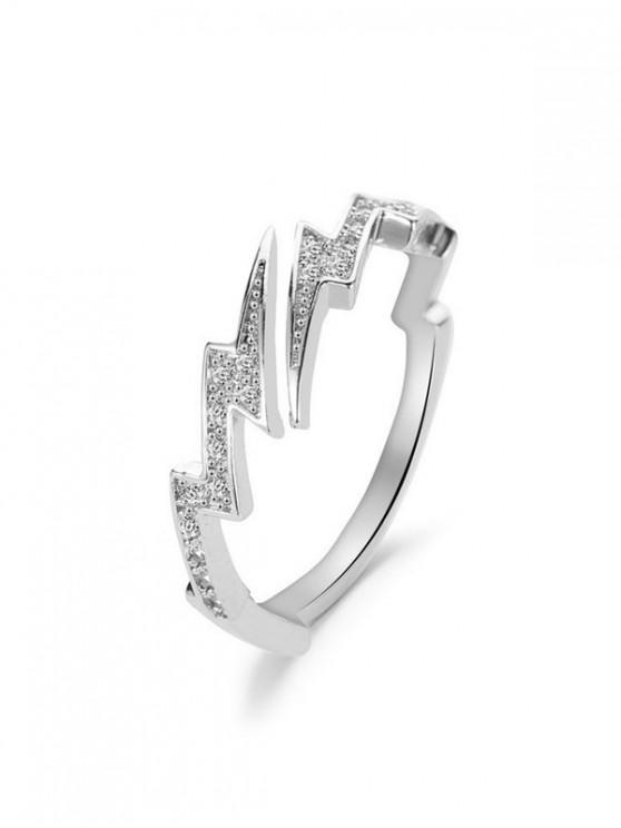 lady Rhinestone Lightning Open Ring - SILVER