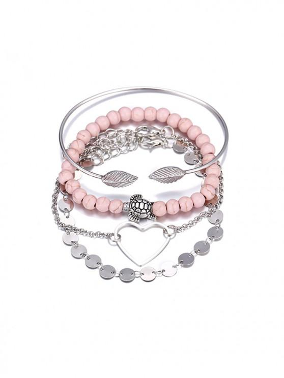 outfit 4 Piece Heart Disc Beaded Chain Bracelet Set - SILVER