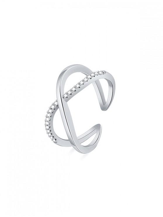 shop Rhinestone Geometric Cuff Ring - SILVER