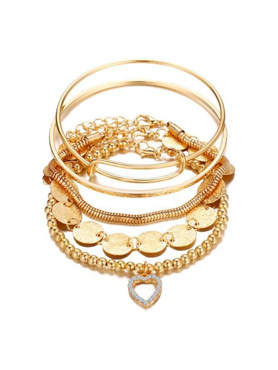 5件心形圓盤鏈串珠手鍊套裝 - 金