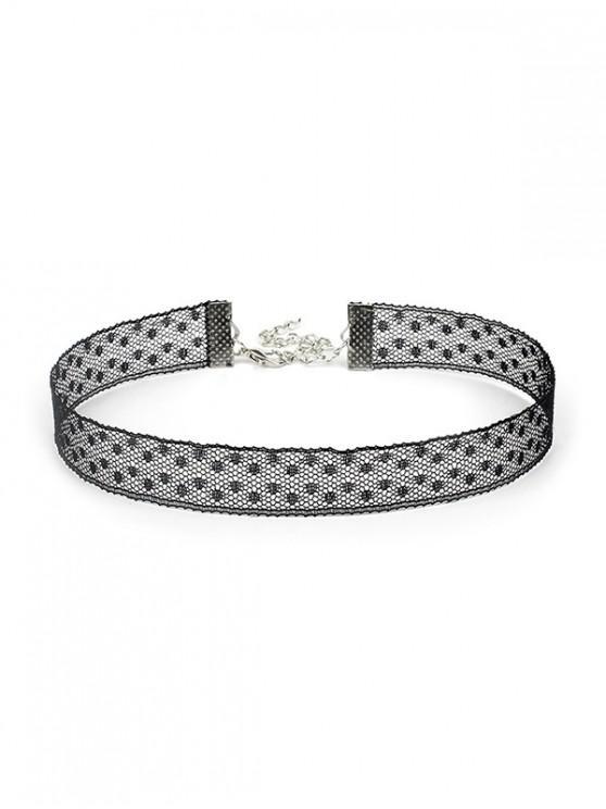 women Hollow Dots Lace Choker Necklace - BLACK