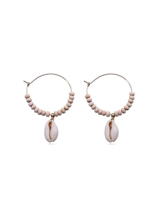 ladies Shell Embellished Beaded Circle Earrings - GOLD