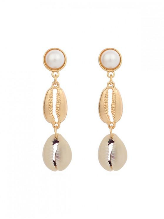hot Artificial Pearl Shell Layered Earrings - GOLD