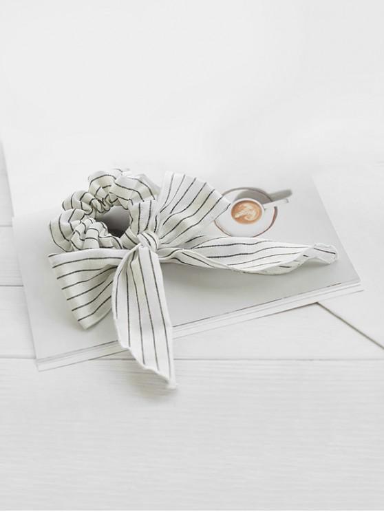 shops Striped Cotton Bowknot Ribbon Scrunchies - WHITE