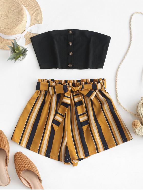 unique ZAFUL Buttoned Bandeau Top And Stripes Paperbag Shorts Set - BLACK XL