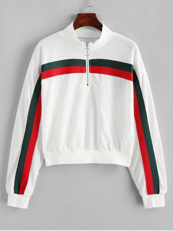 womens Pull Ring Zipper Striped Drop Shoulder Sweatshirt - MILK WHITE L