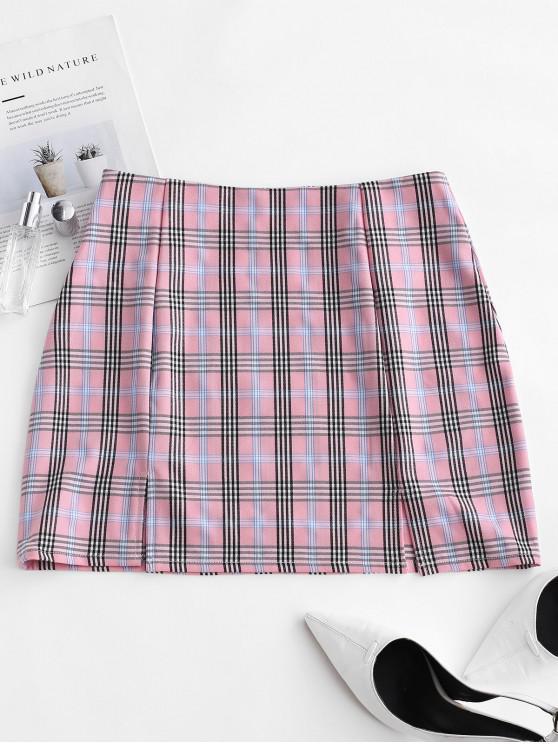 women Slits Plaid Mini A Line Skirt - MULTI S