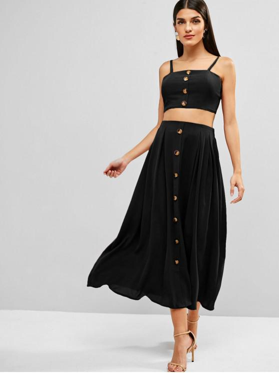 hot ZAFUL Knotted Buttoned Cami Top And Skirt Set - BLACK L