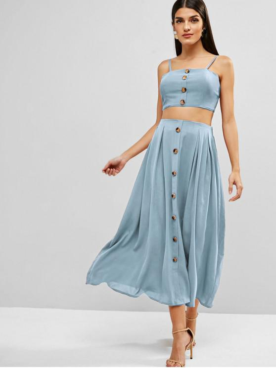 shop ZAFUL Knotted Buttoned Cami Top And Skirt Set - PASTEL BLUE L