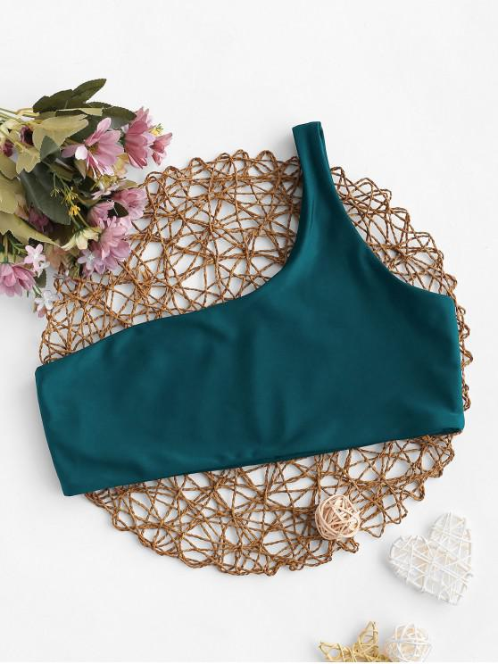 fancy ZAFUL Solid No-padding One Shoulder Bikini Top - PEACOCK BLUE S