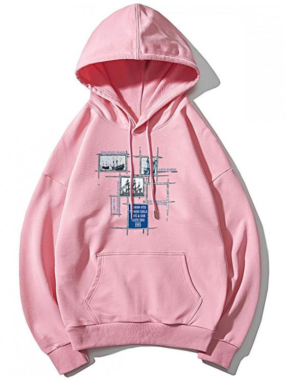 sale Sail Boat Plaid Letter Graphic Print Drop Shoulder Hoodie - PINK XS