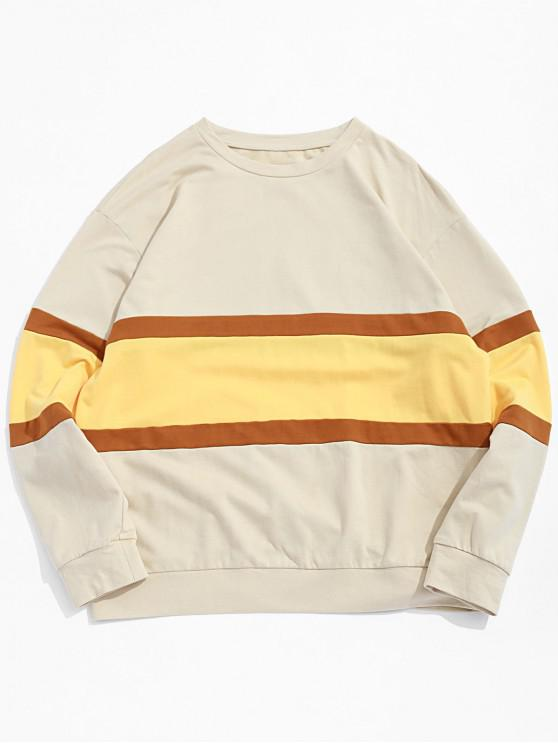 ZAFUL Contrast Pullover Farbblock-Sweatshirt - Aprikose L
