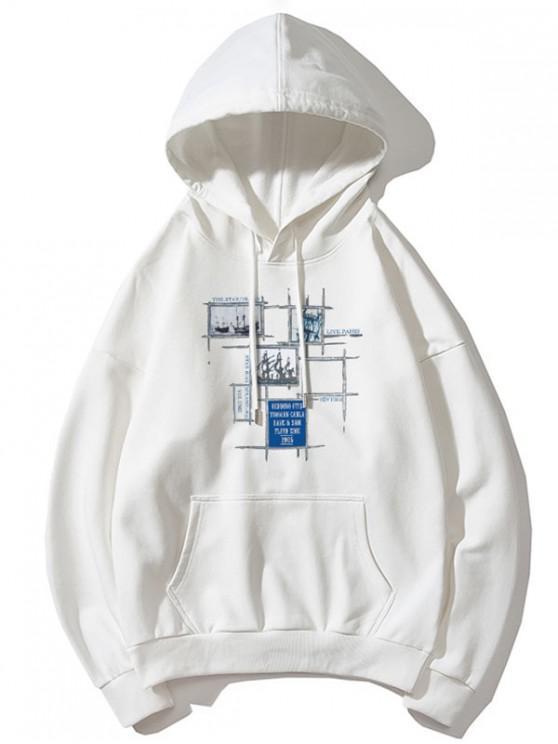 women Sail Boat Plaid Letter Graphic Print Drop Shoulder Hoodie - WHITE L