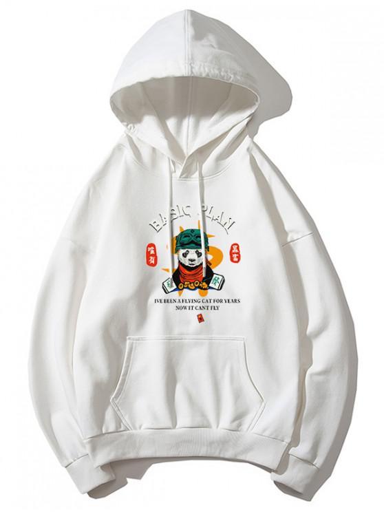 sale Panda Basic Plan Letter Graphic Print Drop Shoulder Hoodie - WHITE M