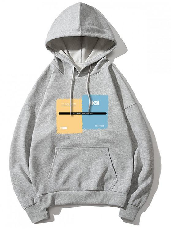 hot Graphic Print Drawstring Kangaroo Pocket Hoodie - GRAY XS