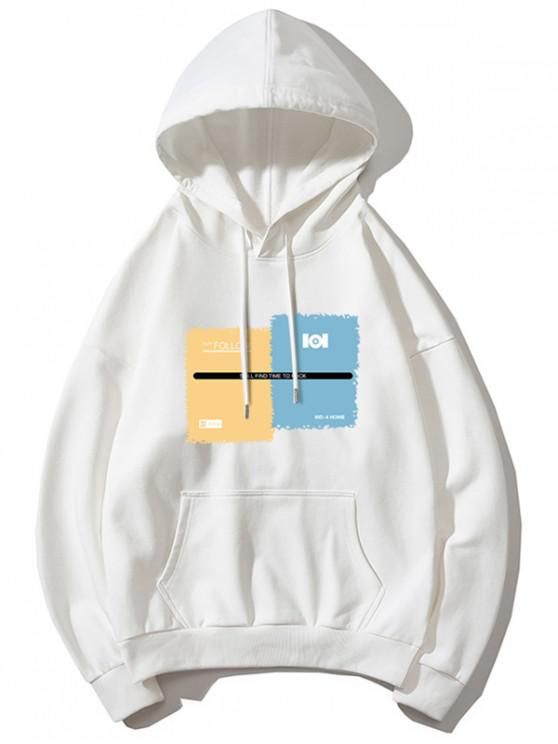 shops Graphic Print Drawstring Kangaroo Pocket Hoodie - WHITE S