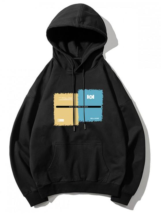 trendy Graphic Print Drawstring Kangaroo Pocket Hoodie - BLACK M