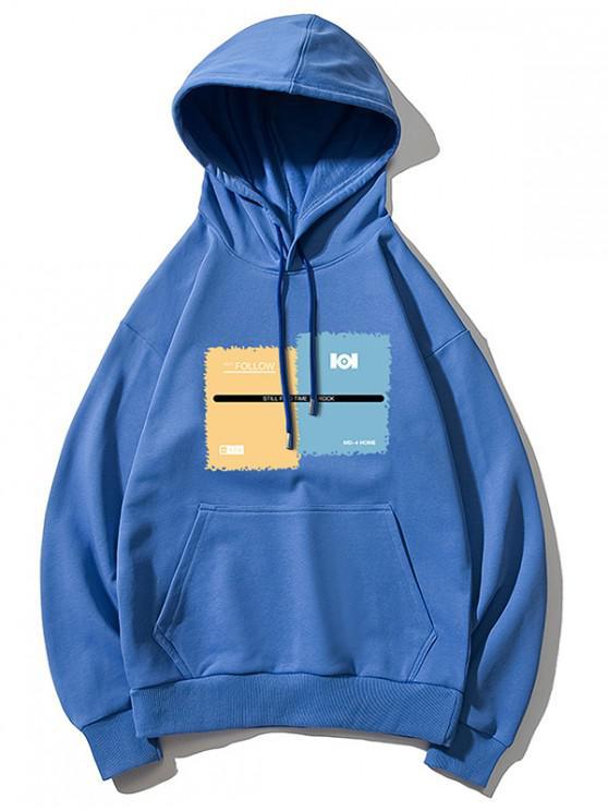 lady Graphic Print Drawstring Kangaroo Pocket Hoodie - BLUE XS