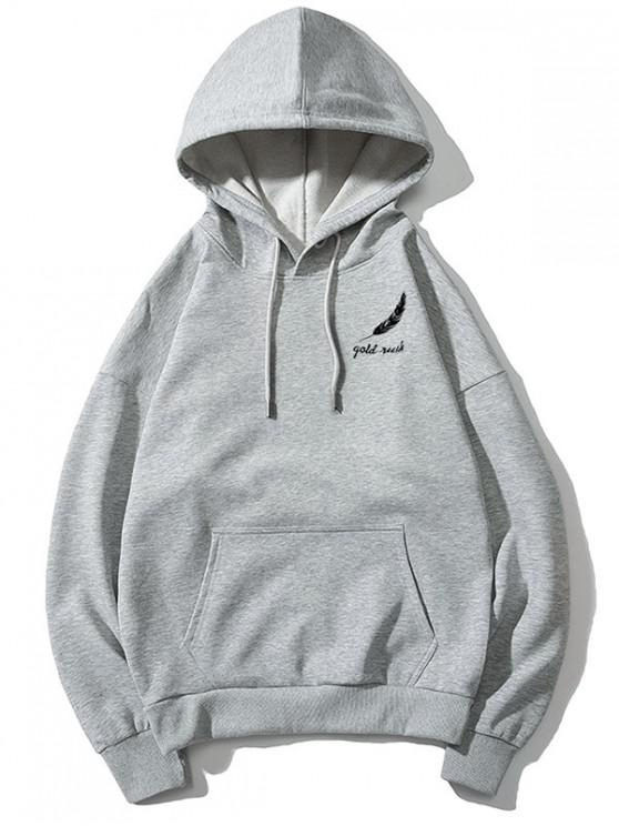 sale Tiny Feather Letter Print Kangaroo Pocket Drop Shoulder Hoodie - GRAY L