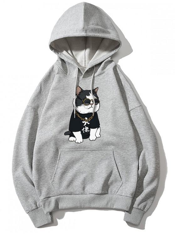 lady Cool Cat Pattern Print Hoodie - GRAY XL
