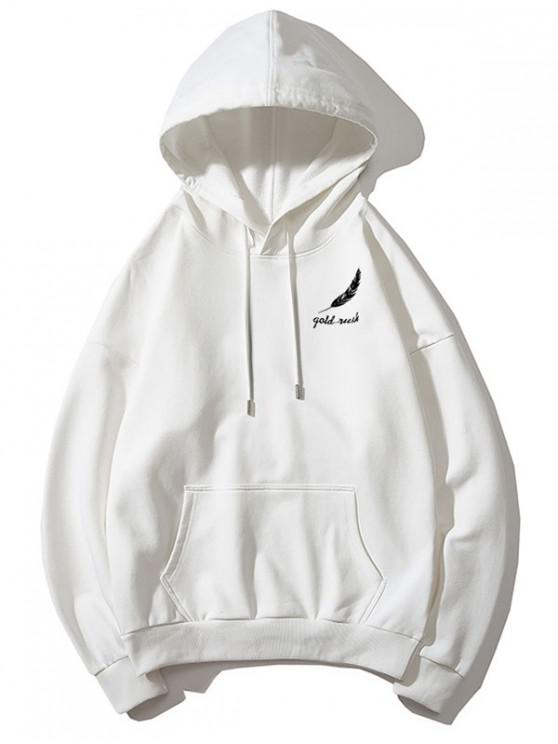 shop Tiny Feather Letter Print Kangaroo Pocket Drop Shoulder Hoodie - WHITE XS