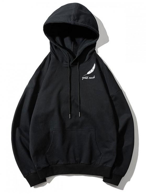 chic Tiny Feather Letter Print Kangaroo Pocket Drop Shoulder Hoodie - BLACK S