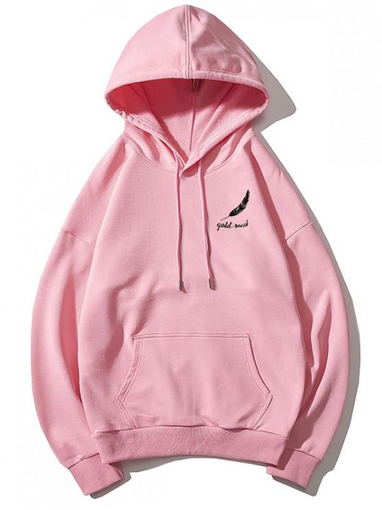 best Tiny Feather Letter Print Kangaroo Pocket Drop Shoulder Hoodie - PINK XS