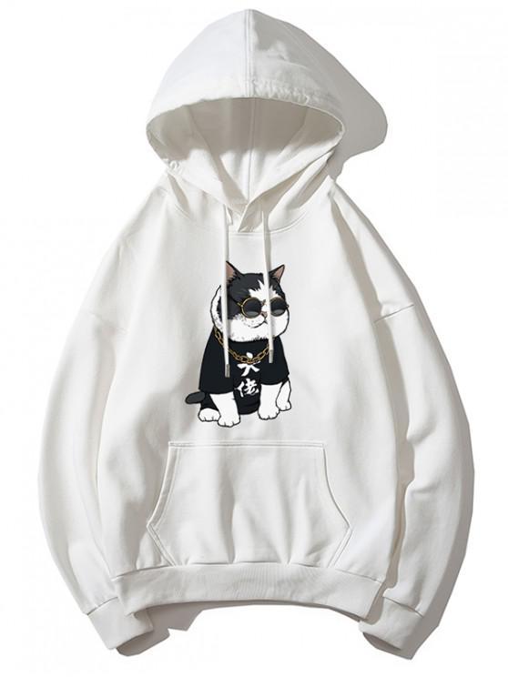 fashion Cool Cat Pattern Print Hoodie - WHITE M