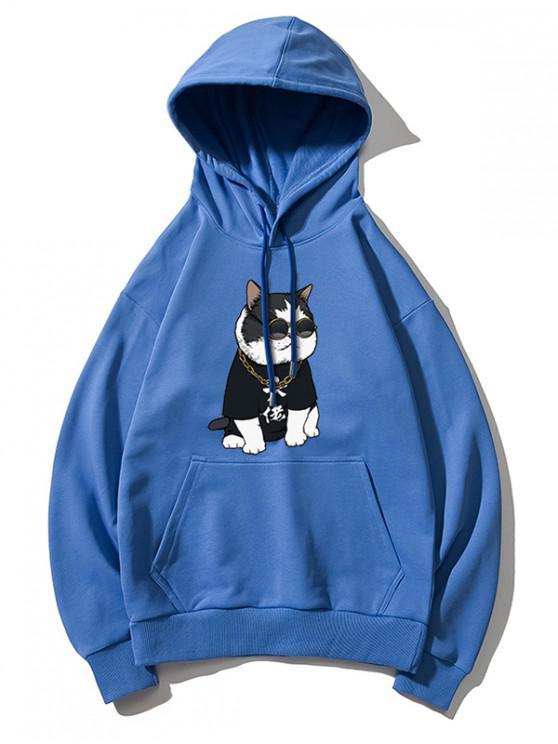 Cool Cat Pattern Print Sudadera con capucha - Azul XL