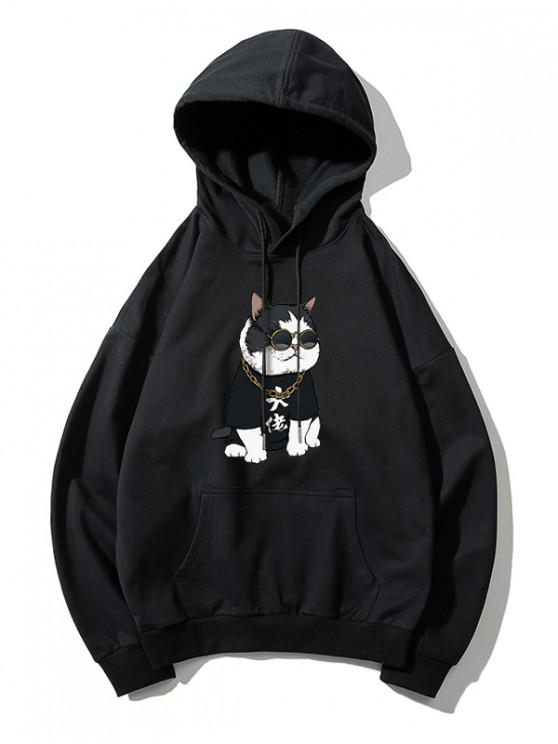 women Cool Cat Pattern Print Hoodie - BLACK XS