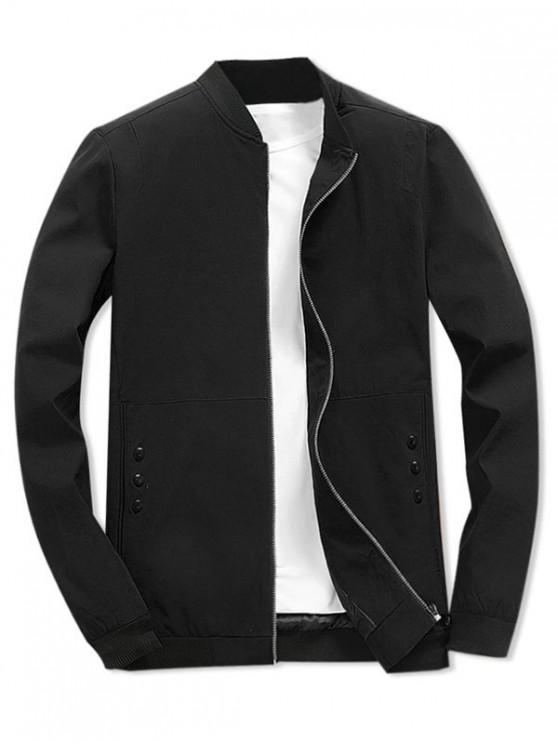 best Zipper Color Block Splicing Casual Basic Jacket - BLACK S