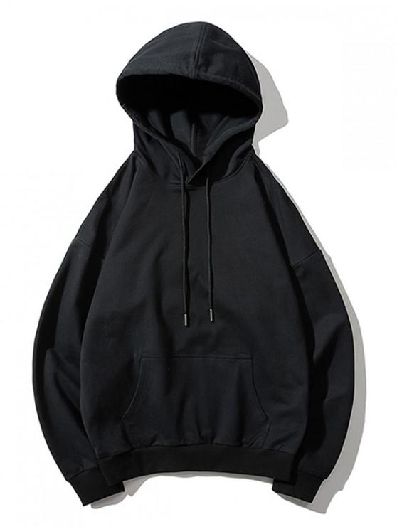 women Drop Shoulder Kangaroo Pocket Plain Hoodie - BLACK M
