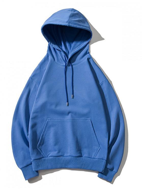 new Drop Shoulder Kangaroo Pocket Plain Hoodie - BLUE L