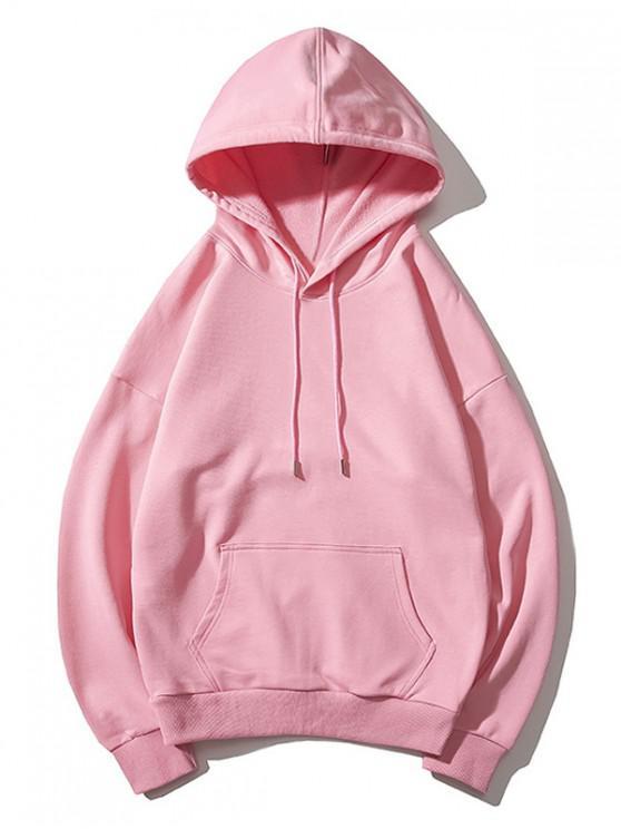 shops Drop Shoulder Kangaroo Pocket Plain Hoodie - PINK L