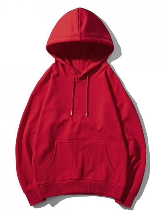 chic Drop Shoulder Kangaroo Pocket Plain Hoodie - RED WINE M