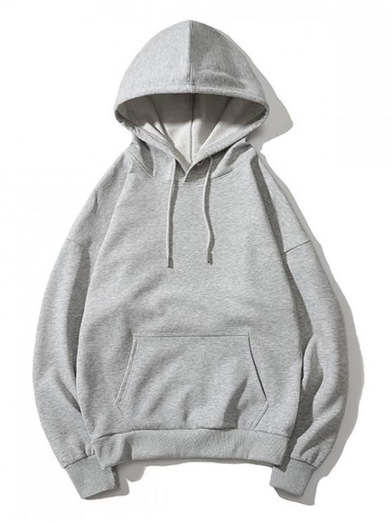 affordable Drop Shoulder Kangaroo Pocket Plain Hoodie - GRAY S