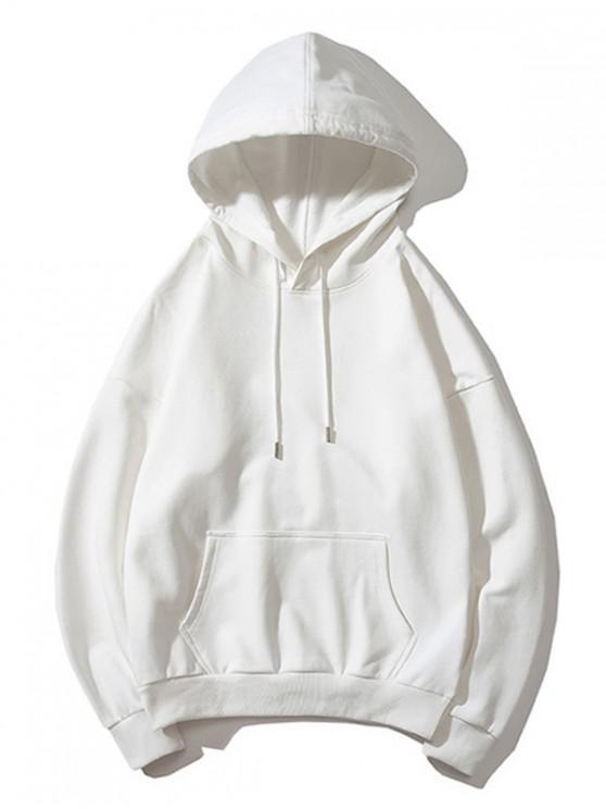 women's Drop Shoulder Kangaroo Pocket Plain Hoodie - WHITE S