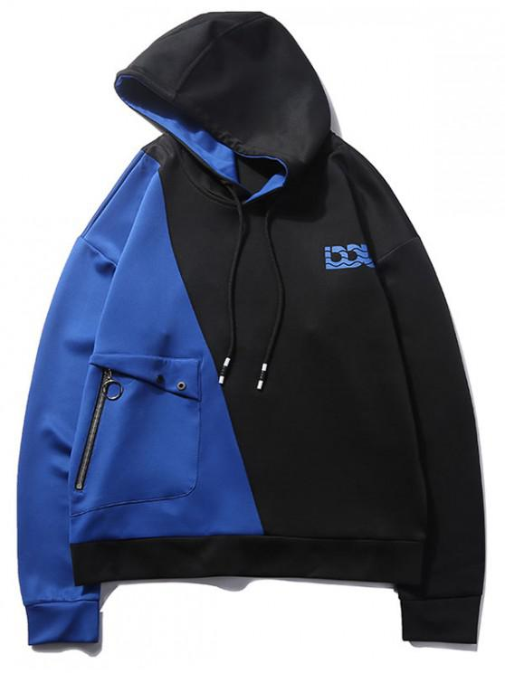 affordable Two Tone Color Block Hoodie - BLUEBERRY BLUE L
