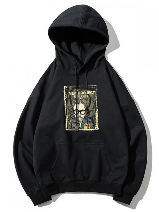women Cartoon Man Print Kangaroo Pocket Hoodie - BLACK M