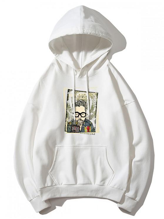 ladies Cartoon Man Print Kangaroo Pocket Hoodie - WHITE XL