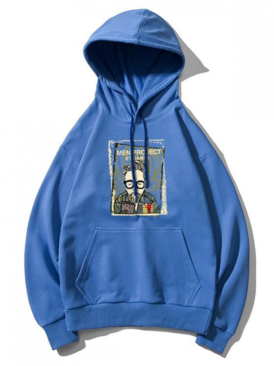 fashion Cartoon Man Print Kangaroo Pocket Hoodie - BLUE L