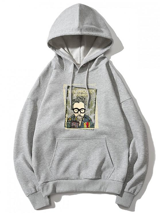 women's Cartoon Man Print Kangaroo Pocket Hoodie - GRAY XS