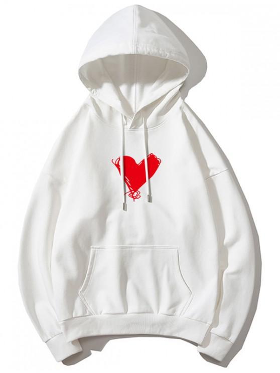 shop Heart Print Kangaroo Pocket Pullover Hoodie - WHITE XS