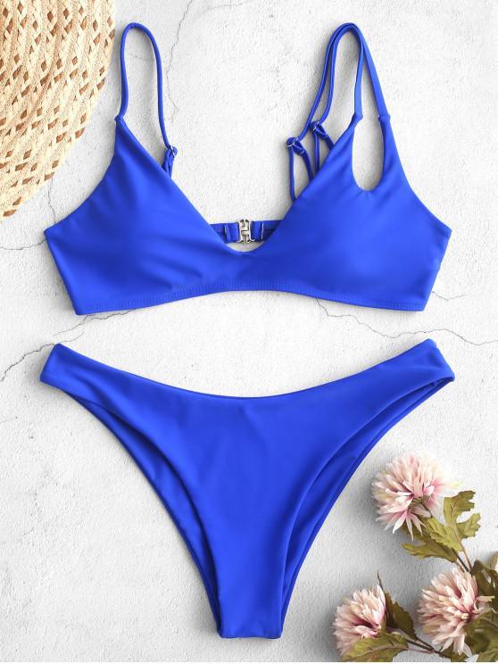 latest ZAFUL Criss Cross Cutout High Cut Bikini Swimsuit - COBALT BLUE L