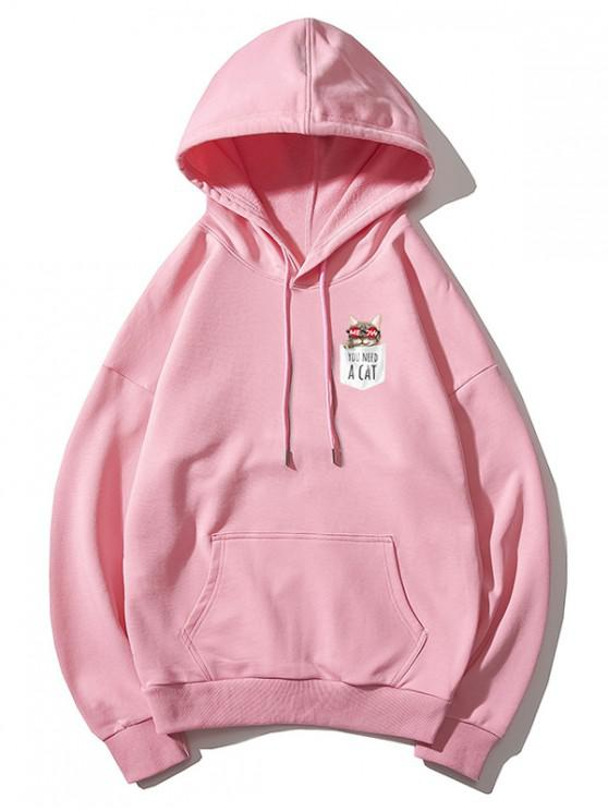 women Cartoon Pocket Cat Print Drawstring Kangaroo Pocket Hoodie - PINK XS