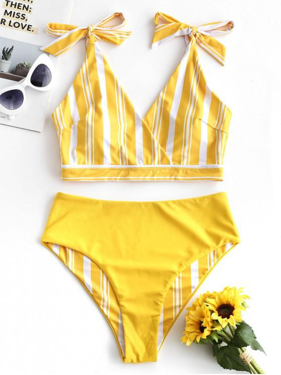 trendy ZAFUL Striped Tie Shoulder Surplice Reversible Tankini Swimsuit - YELLOW S