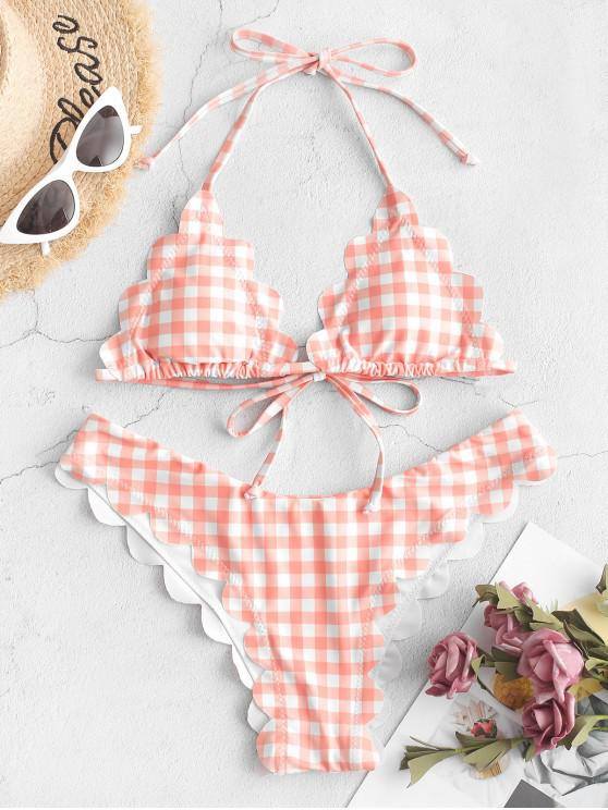 women ZAFUL Plaid Scalloped Halter Tie Bikini Swimsuit - LIGHT SALMON M